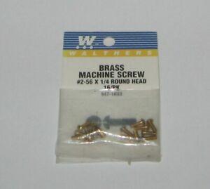 Walthers  947-1033 - 2-56 X 1/4 IN ROUND  HEAD  BRASS SCREWS  16 / PK