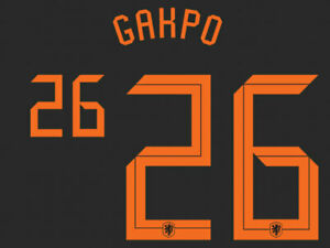 2020 2021 OFFICIAL NETHERLANDS AWAY NAME SET GAKPO 26 = PLAYER SIZE