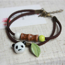 Fashion Women Panda Bamboo Ceramic Handmade Pendant Rope Chain Bracelet Jewelry