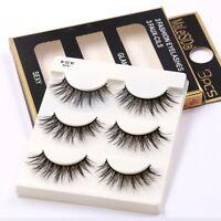 UK 3Pairs 100% Real 3D Mink Makeup Cross False Eyelashes Eye Lashes Cosplay