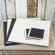 Set of 4 Placemats Coasters Black White Square Faux Leather Table Setting Mats