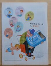 1958 magazine ad for Q Tips - Nobody's Too Old for Q Tips, grandpa & baby