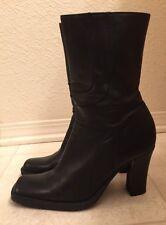 Steve Madden Black Leather Mid Calf Boots Sz 8B