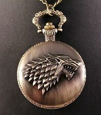 Alloy Game of Thrones Stark Quartz Pocket Watch w/Free Jewelry Box and Shipping