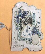 Early 1900s Unusual Fold Open Christmas Card ~ Blue Flowers, Lattice, Glitter