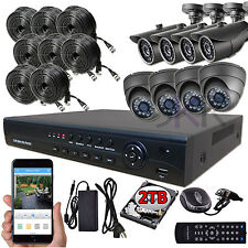 Sikker 8CH 720P Megapixel DVR Home Video Surveillance Security Camera System 2TB