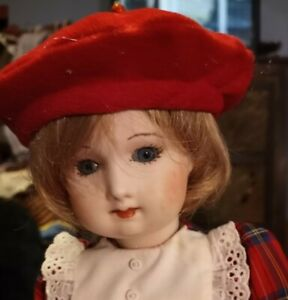 Musical French Fashion Doll In Red Plaid Dress & Beret