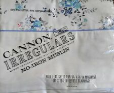 Cannon Vintage Full Flat Sheet Blue Flowers New Old Stock