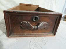 Vintage Wooden Drawer w/ Carved Leaf Handle