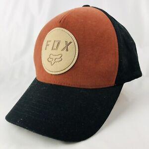Fox Flex Fit S/M Cap Hat Black Burnt Orange Baseball Style