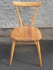 Vintage Ercol windsor blonde elm-ash stacking chair full sized  mid-century
