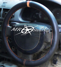 FITS FORD TRANSIT CONNECT 2002+ BLACK LEATHER STEERING WHEEL COVER + BEIGE STRAP