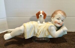 Antique / Vintage Large Piano Baby Doll Figurine with Dog