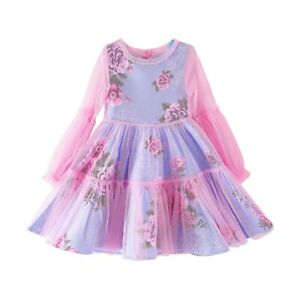 Kid's Mesh Princess Dresses Suit Wedding Party Flower Girl Formal Gown Xmas Gift