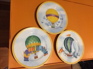"""Vintage 90s Set Of 3 Williams Sonoma Balloon 8"""" Salad Plates As New Condition"""