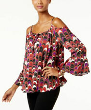 INC International Women's Cold-Shoulder Scallop Feather Top Size 4P