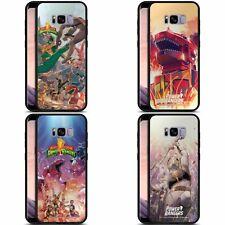 POWER RANGERS RETRO COMIC ART BLACK HYBRID GLASS BACK CASE FOR SAMSUNG PHONES