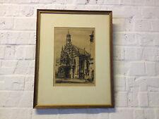 Vintage Antique German Paul Geissler Signed Print Basilica of Nuremberg