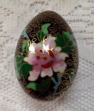 Chinese Cloisonne Egg, Antique Decorated With Flowers, Leaves, Butterfly