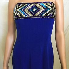 Bob Mackie Royal Blue Sequin Strapless Evening Dress Bust 36 Size 10