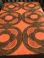 Dolan Pradikat Bruckmuhl Germany Vintage Blanket Orange Retro MCM Hippie Flowers