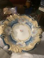 Stunning Antique Rare R S Prussia BLUE FLORAL SCROLL Cabinet Bowl a BEAUTY!!!!!!