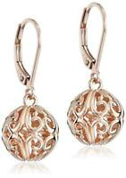 14k Rose Gold Plated Sterling Silver Filigree Ball Leverback, Rose, Size No Size