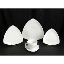 Dinnerware Serving Set 30 Pieces Porcelain Vogue Pattern Triangle Ultra White