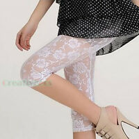 Sexy Women Lace Floral 3/4 Length Cropped Basic Leggings Capri Pants Stretch New