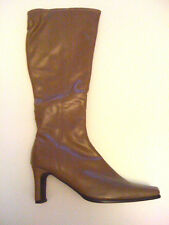 LADIES HIGH LEG BOOT. CAMEL- STRETCH -ZIP SIDE UK8