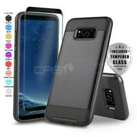 PROTECH COVER PHONE CASE FOR [SAMSUNG GALAXY S8 / S8 PLUS] +BLACK TEMPERED GLASS