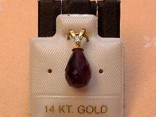 Exclusiver Amethyst & Diamant Anhänger - 14 Kt. Gold - 585 - Briolett Schliff -5