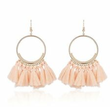 Gold Nude Beige Long Drop Tassel Fashion Earring Boho Festival Party Boutique Uk