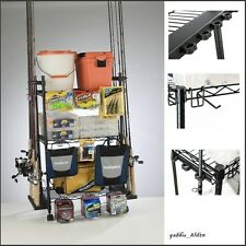 Fishing Rod Organizer Rack Pole Reel Tackle Box Hook Storage Rolling Cart Gear