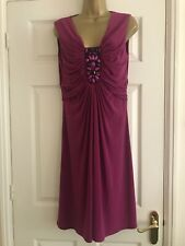 Minute Petit Plum Purple Grecian Style Dress, Central Beading Feature. Size 14
