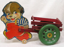 Vtg N. N. Hill Wood Anthro Dog Pulling Wagon 1940s-50s