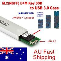 M.2(NGFF) SATA KEY B+M SSD to USB 3.0 Converter Adapter External Aluminum Case
