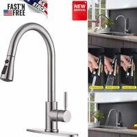 Brushed Nickel Kitchen Sink Faucet Pull Down Dual Mode Mixer Sink Tap Modern