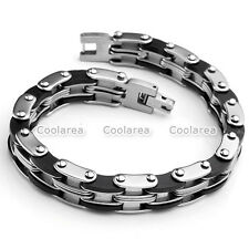 Mens Stainless Steel Link Chain Rubber Bicycle Biker Bracelet Cuff Wristband