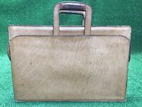 Vintage Schlesinger Mens Genuine Full Grain Brown Tan Belting Leather Briefcase