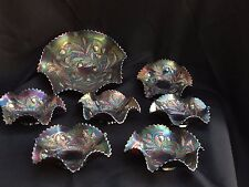 """7 RARE Northwood Basketweave WILD Strawberry CARNIVAL LOT - 10"""" with 6 6"""" BOWLS"""