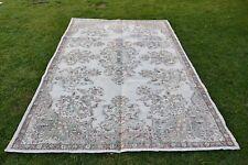 6x9ft Turkish Vintage Floral Design Beige Color Carpet Wool Area Rug