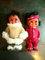 2 Vintage Regal Canadian 11in Eskimo Inuit Indian Rubber Doll Real Fur Blow Mold