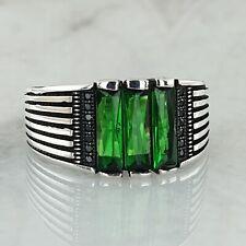 925 Sterling Silber Grün Smaragd Edelstein Mens Ring Handgefertigt Ottomane