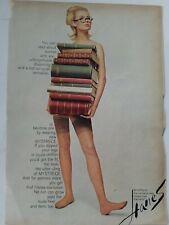 1965 women's Hanes hosiery stockings legs stacked books vintage fashion ad