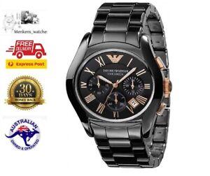 New Emporio Armani Mens AR1410 Ceramic Black Chronograph Watch