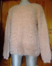 New Soft Fluffy Long Sleeve Jumper with Pockets Size 10 - 12 - 14 Peachy Pink