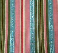 La Vie En Rose BTY Unbranded Rose Pink Blue Brown Olive Green Stripe
