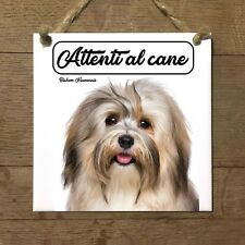 Bichon Havanais MOD 1 Attenti al cane Targa piastrella cartello ceramic tile
