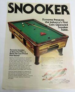 Vintage 1960's Dynamo Snooker Pool Table Coin-Op Arcade Advertising Flyer